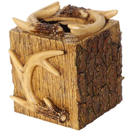 Rustic Deer Antler   Tree Bark Square Tissue Box Cover