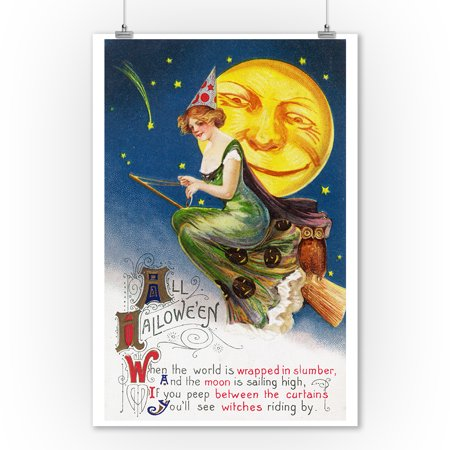 All Halloween Witch on a Broom by Full Moon Scene - Vintage Holiday Art (9x12 Art Print, Wall Decor Travel Poster) - Last Full Moon On Halloween