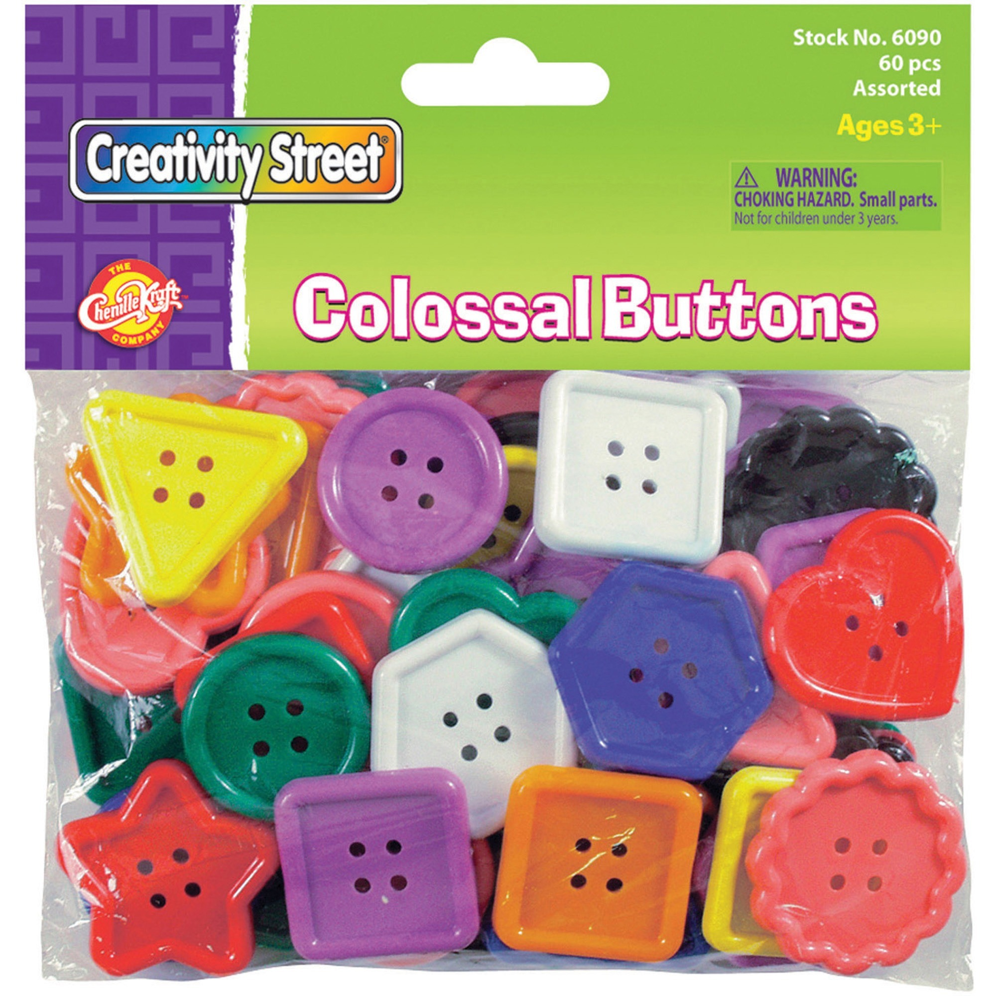 Creativity Street, CKC6090, Extra Large Plastic Buttons, 1 Pack, Assorted