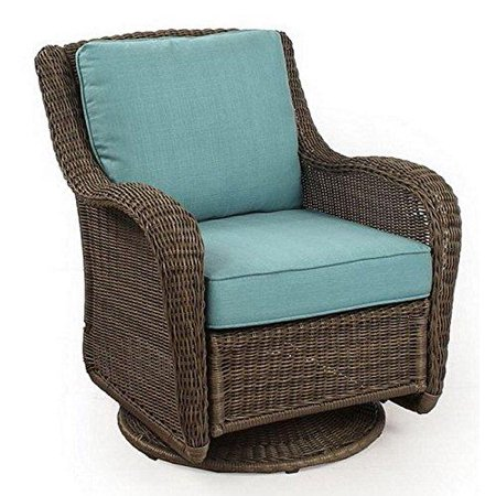 wicker swivel glider presidio patio outdoor cushioned rocking chair