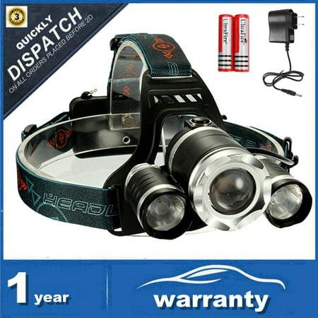 Head Spotlight - CAMTOA LED Rechargeable Headlamp Flashlight for Camping,3×T6 Super Bright LED, High capacity 2200mah Batteries,4 Modes Spotlight