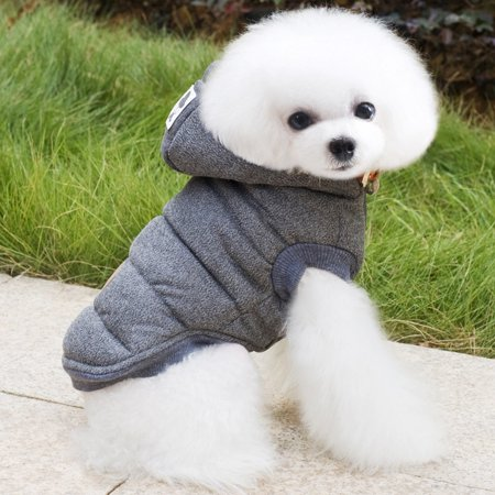 GRAY New Pet Jacket Winter Cotton Hoodie Coat for Small / Medium / Large Dogs, Coat Vest Hat Warm Apparel Puppy Cat Dog Clothes for Winter, (S-5XL)