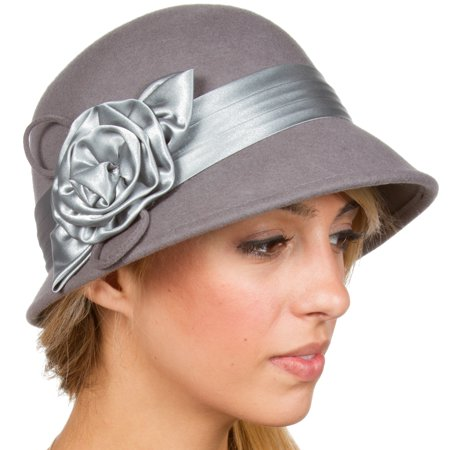 Sakkas Marilyn Vintage Style Wool Cloche Bucket Winter Hat with Satin Flower - Charcoal - One -