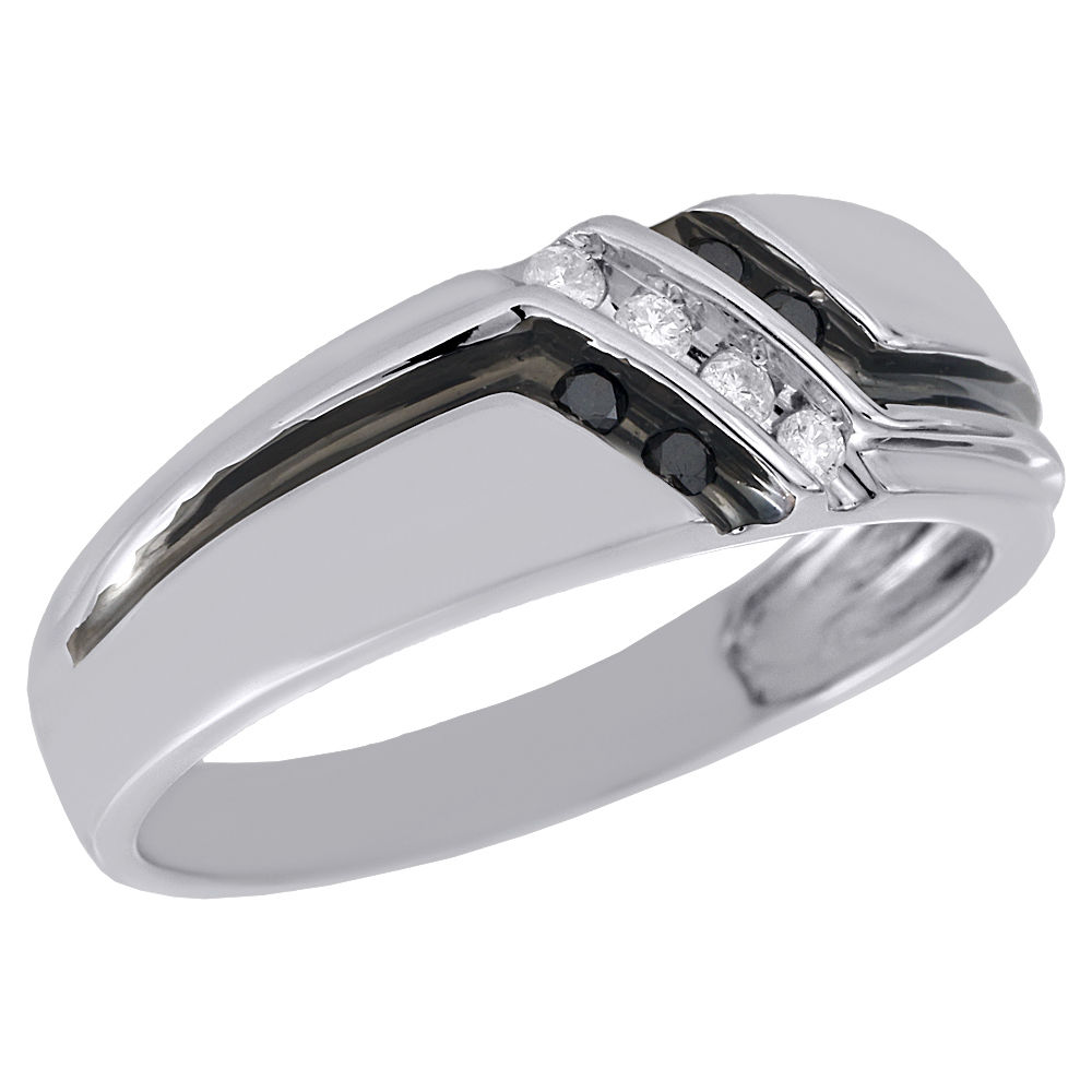 Jewelry For Less 10k White Gold Black Diamond Mens Wedding Band
