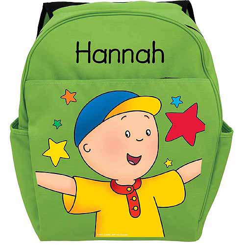 Personalized Caillou Stars Green Backpack