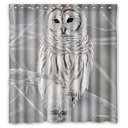 GreenDecor White Cute Owl Perch On Tree Waterproof Shower Curtain Set with Hooks Bathroom Accessories Size 66x72 inches ()