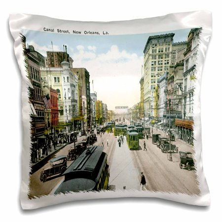 New Orleans Canal Street - 3dRose Canal Street New Orleans, Louisiana, Antique Cars, Cable Car - Pillow Case, 16 by 16-inch