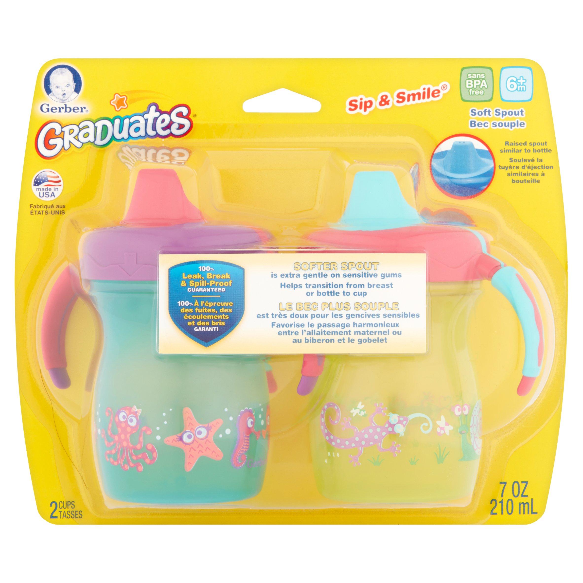 Gerber Graduates Sip & Smile Soft Spout Spill-Proof 7 Ounce Cups, 2 ct by Nuk