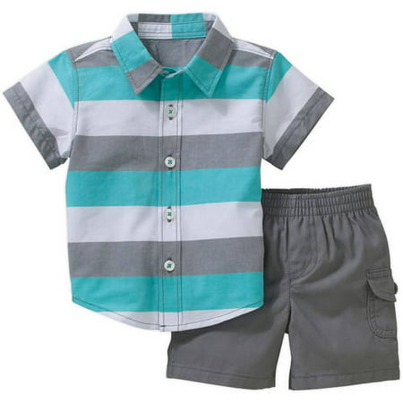 Healthtex Newborn Baby Boy Short Sleeve Button Down Shirt and Cargo Short 2-piece Outfit Set