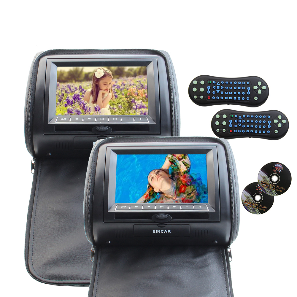 7 inch LCD Wide Screen Car Pillow Monitors with Region Free DVD player Audio Video Car Seat Headrest Support the newest 32 Bit Game Remote Control IR/FM Transmitter USB/MS/MMC/SD Card Input