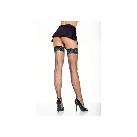 Women's Fishnet Thigh High Stockings with Back Seam and Silicone Lace Top, Black, One Size - Thigh High Fishnet Stockings