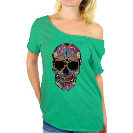 Black Floral Shirt - Awkward Styles Women's Black Flowered Skull Graphic Off Shoulder Tops T-shirt Floral Sugar Skull Day of Dead
