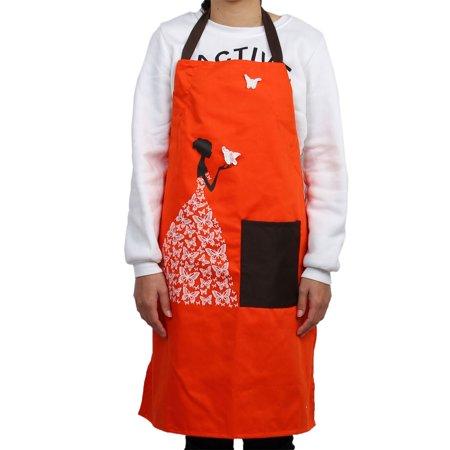 Kitchen Butterfly Pattern Front Patch Pocket Adjustable Cooking Apron Bib Orange - image 3 of 3