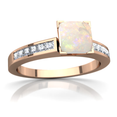 Opal Channel Set Ring in 14K Rose Gold by
