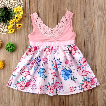 3b6df6187 Kids Baby Girls Dress Flamingo Lace Floral Casual Party Dresses Sundress  Clothes - Walmart.com