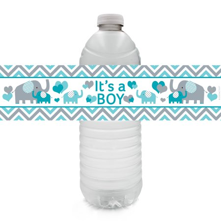 Teal Blue and Gray Elephant It's a Boy Baby Shower Water Bottle Labels, 20 Count