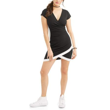 Juniors\' Framed Wrap Front Dress - Walmart.com
