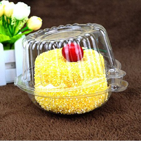 Single Cupcake Box (YOSOO 400 pieces Plastic Single Individual Cupcake Muffin Dome Holders Cases Boxes Cups Pods for party )