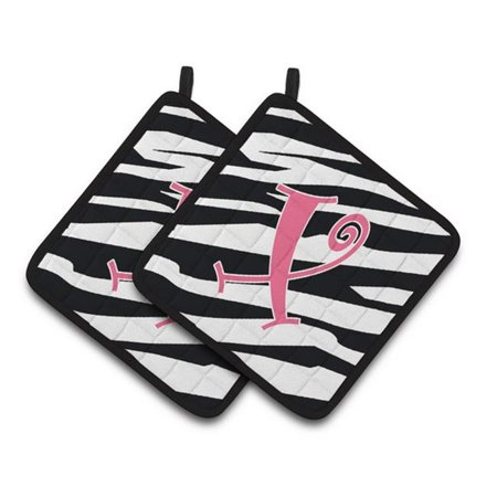 Carolines Treasures CJ1037-XPTHD Monogram Initial X Zebra Stripe & Pink Pair of Pot Holders, 7.5 x 3 x 7.5 in. - image 1 of 1