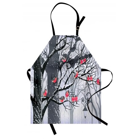 Winter Apron Cute Bullfinches on Trees Winter City Park Snow Cold Weather Immigrant Birds Design, Unisex Kitchen Bib Apron with Adjustable Neck for Cooking Baking Gardening, Grey Coral, by