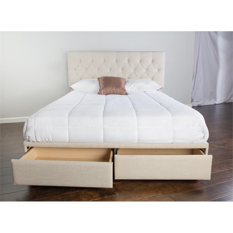 Bernards Skyla Queen Upholstered Storage Bed In Gray Fabric With 2 Wood Drawers Walmart Com Walmart Com