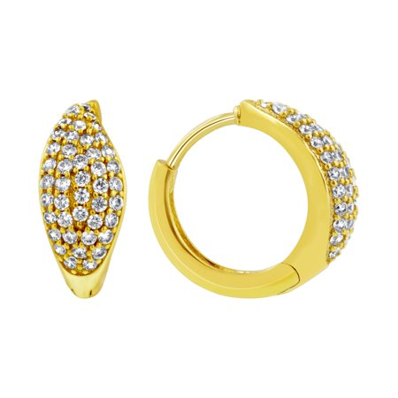 Gem Avenue 18K Gold Layered Pave Set Clear Cubic Zirconia 14mm Huggies Earrings(14mm - Clear Cubic Zirconia Set