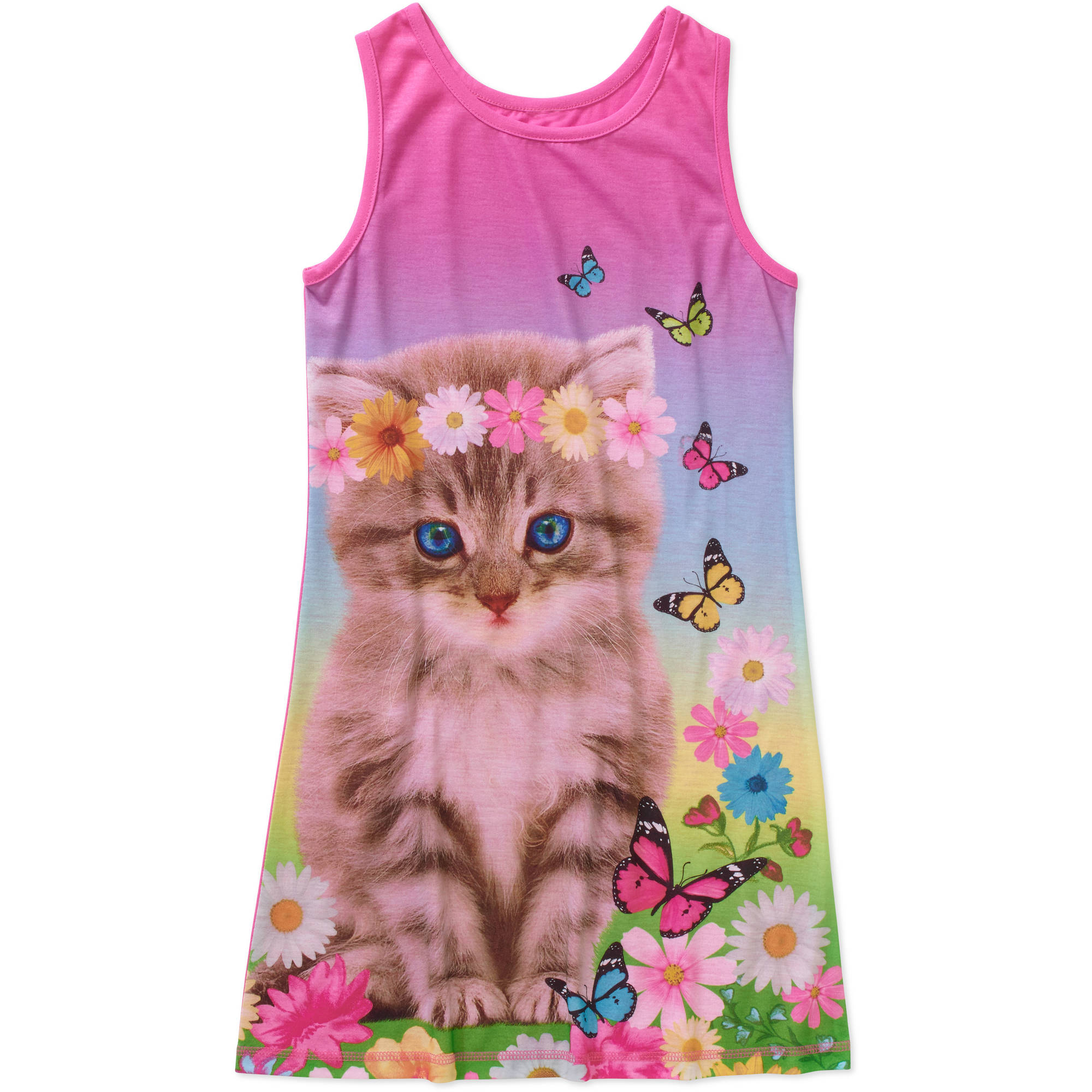 Girls' Tank Photo Real Print Pajama Sleep Gown