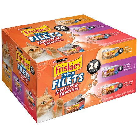Purina Friskies Prime Filets Meaty Favorites Cat Food Variety Pack 24 5 5 Oz  Cans