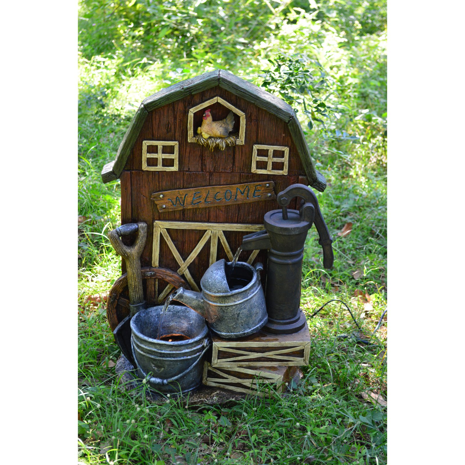 Hi-Line Gift Ltd. Barn with Hand Pump and Pail Fountain