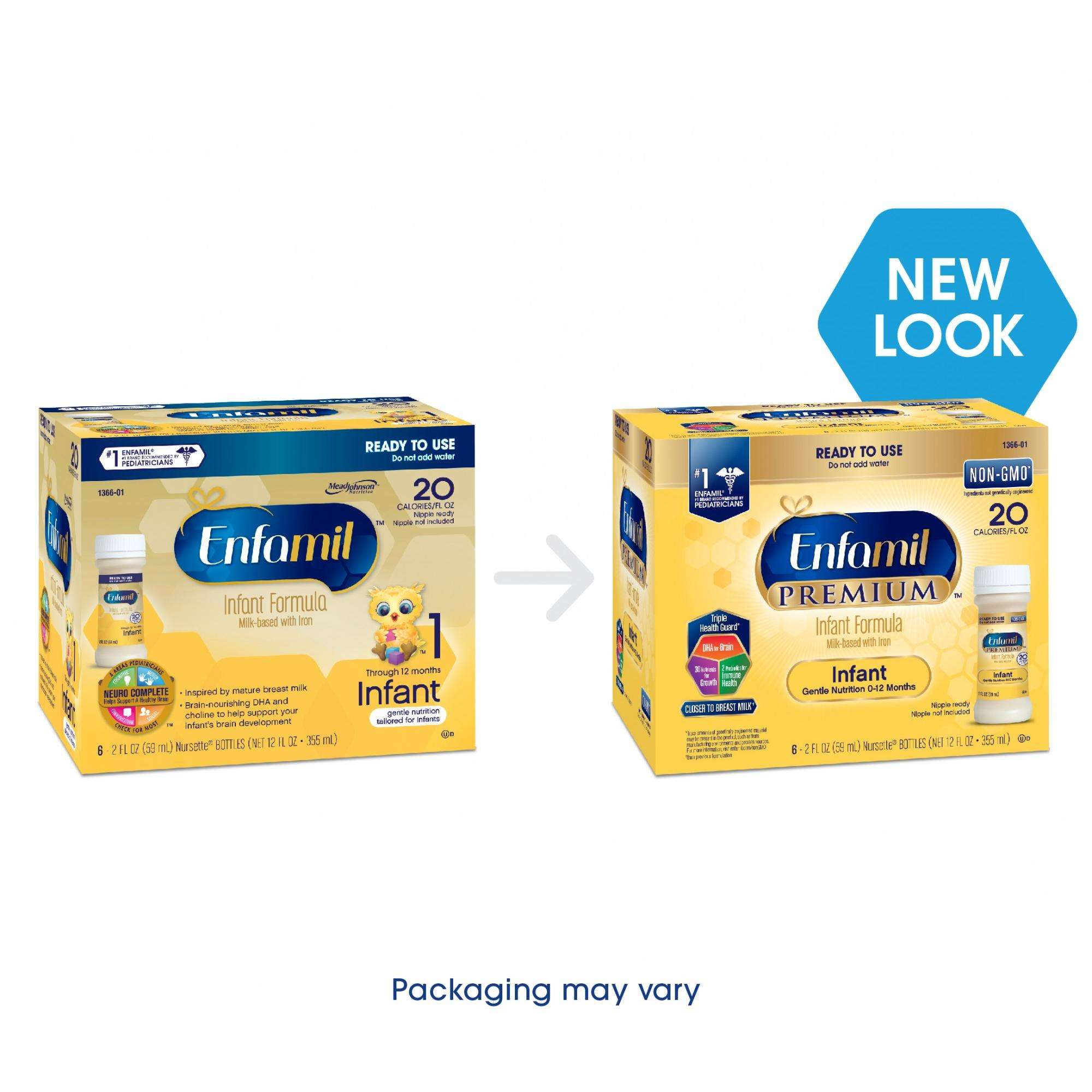 Enfamil PREMIUM Infant Formula, Ready to Use 2 Fluid Ounce Bottles, 6 Pack