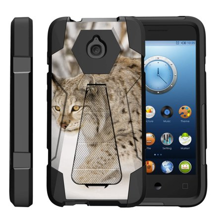 TurtleArmor ® | For Alcatel One Touch Aquire / Streak / Dawn / Ideal / Pixi Bond A573VC [Dynamic Shell] Dual Layer Hybrid Silicone Hard Shell Kickstand Case - Snow - Layer Snow