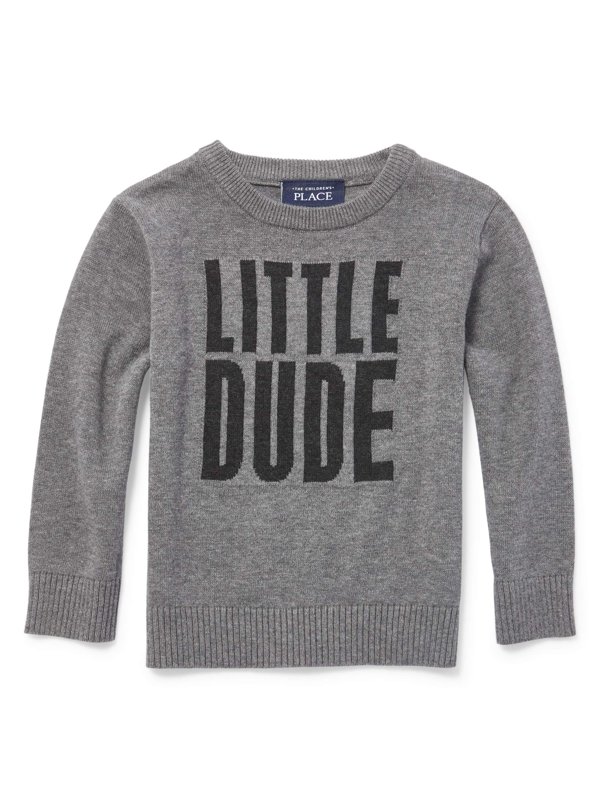 Toddler Boys Long Sleeve Graphic Intarsia Sweater