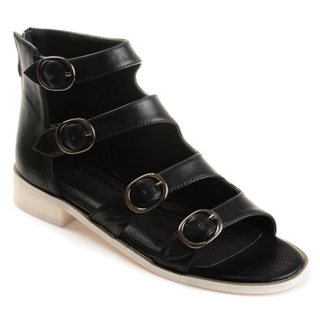 Side Buckle Sandal - Womens Faux Leather High-top Distressed Side Buckle Sandals