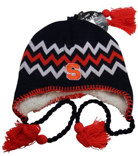 NCAA Zephyr Syracuse Orange Fully Lined Knit Beanie Hat with Ear Flaps by NCAA