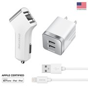 Overtime Dual iPhone Car Charger Set | 4Ft Apple MFI Certified Lightning Cable iPhone Charger Adapter Set for Apple iPhone / iPad / iPod