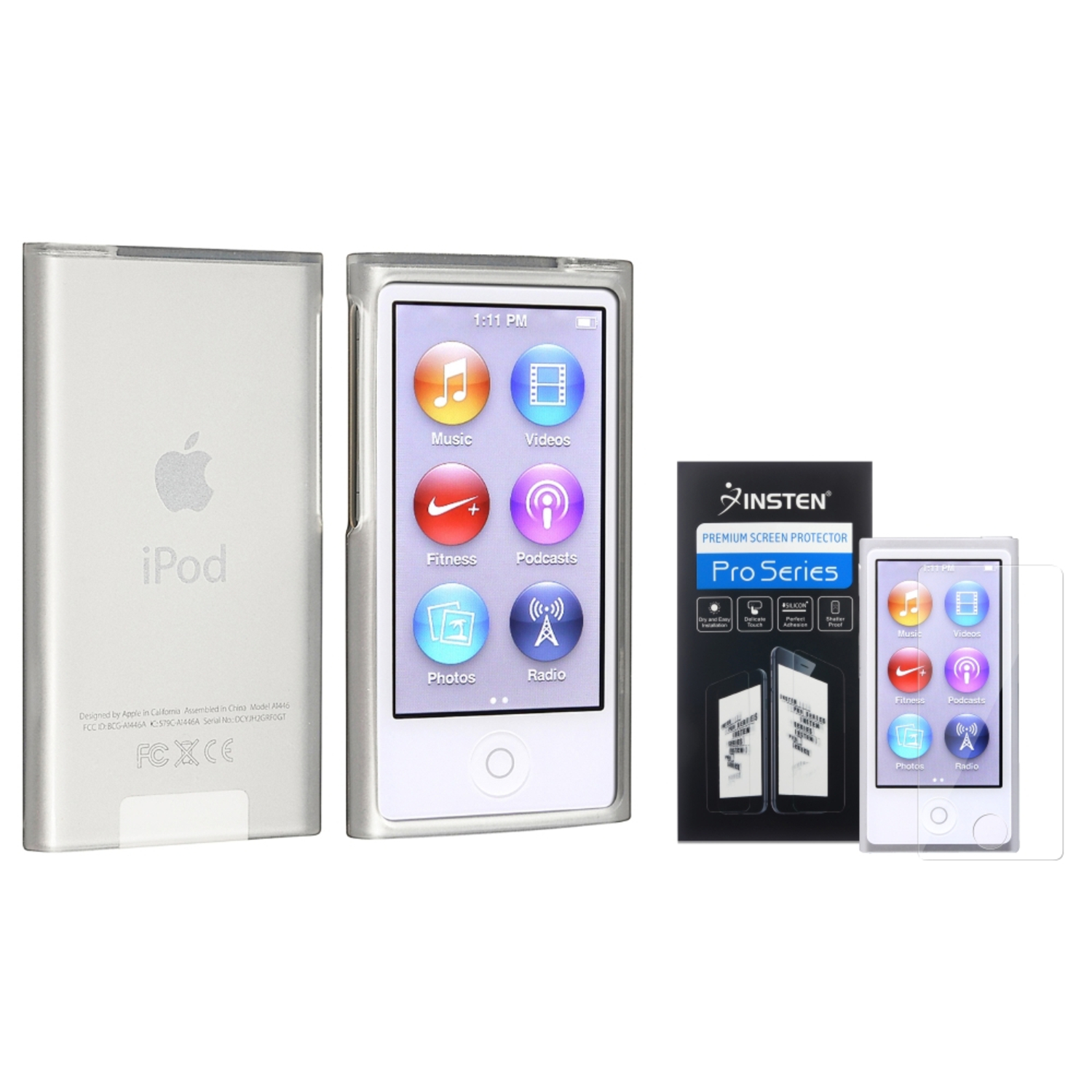 Insten Frost Clear TPU Case+Reusable Screen Protector For iPod Nano 7 7th 7G Generation