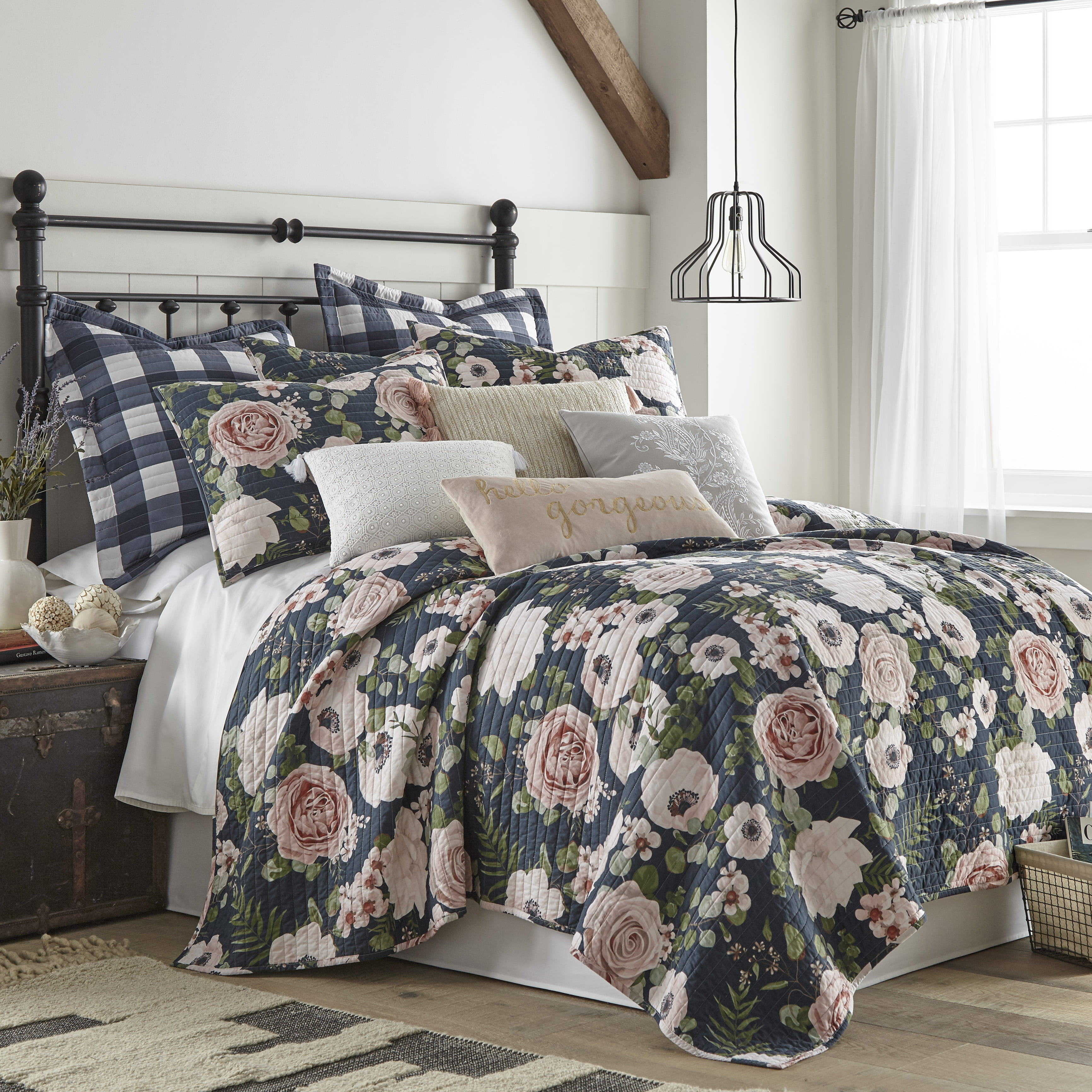 Levtex Home Fiori Quilt Set Full Queen Quilt 88x92in Two Standard Pillow Shams 26x20in Floral Charcoal Coral Pink Green Cream Reversible Cotton Fabric Walmart Com Walmart Com