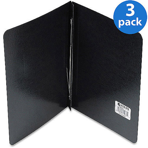 """(3 Pack) ACCO Presstex Report Cover, Prong Clip, Letter, 3"""" Capacity, Black"""