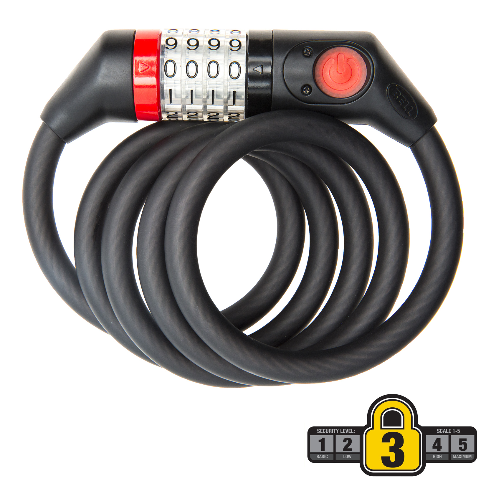 Bell Sports WATCHDOG 650 Lighted 5' x 12mm Cable Bicycle Lock, Black