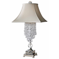 Table Lamps 2 Light With Silver Plated Metal Crystal Top Round and Bottom Square Bell Shade 33 inch 60 Watts