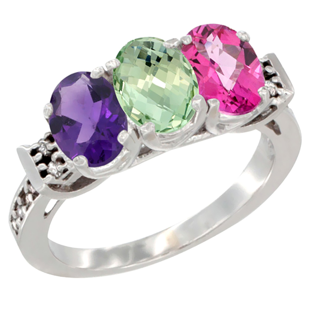 10K White Gold Natural Amethyst, Green Amethyst & Pink Topaz Ring 3-Stone Oval 7x5 mm Diamond Accent, sizes 5 10 by WorldJewels