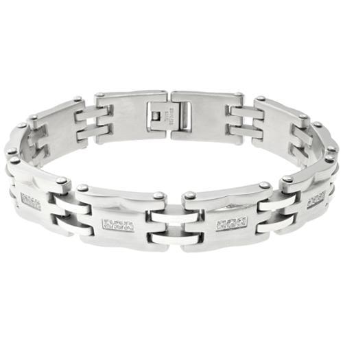 Stainless Steel Men's Cubic Zirconia Bracelet
