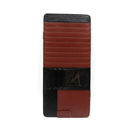 Brown Black Faux Leather Automobile Car Sun Visor CD Pocket Card