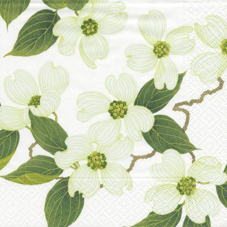 Blossom Napkin - Entertaining with White Blossom Paper Luncheon Napkins, Pack of 20, 20-pack paper lunch napkins by caspari By Caspari