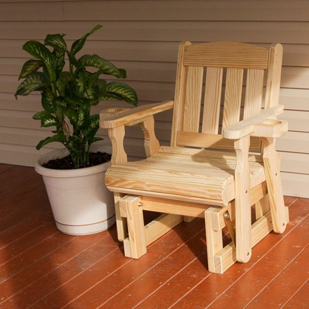buy online 11bba 9ed75 Amish Heavy Duty 600 Lb Mission Pressure Treated Glider Chair With  Cupholders (Unfinished)