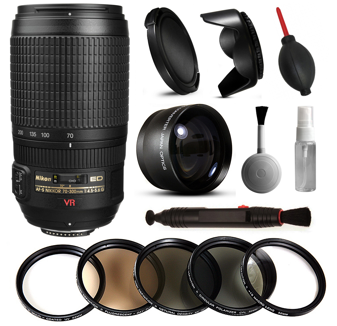 Nikon AF-S VR 70-300mm Lens 2161 + Beginner Accessories Bundle includes 5 Piece Filter Set + 2.2x Adapter for Nikon DF D7200 D7100 D7000 D5500 D5300 D5200 D5100 D5000 D3300 D3200 D3100 D3000 D300S D90