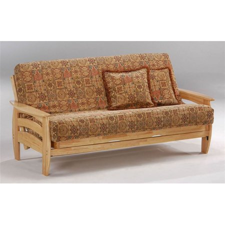 Solid Wood Futon Frame W Natural Finish Tray Arms Standard Twin