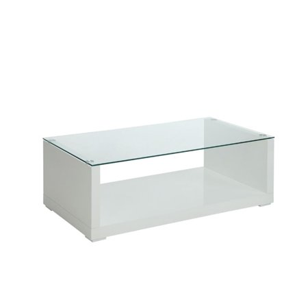 Furniture Of America Delilah Gl Top Coffee Table In Glossy White