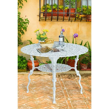 Antique Victorian Cast Aluminum Patio Dining Table White Heart