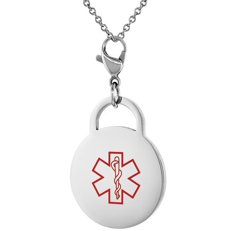 Surgical Steel Medical Alert Charm For Coumadin Bracelet Id 1 Inch Round